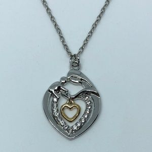 Jewelry - Mom & Baby Silver Heart Charm Pendant Necklace
